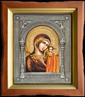 Икона в медной ризе с серебрянным и золотым покрытием